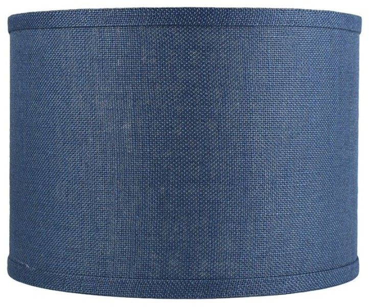 Picture of: Blue Burlap Lamp Shade