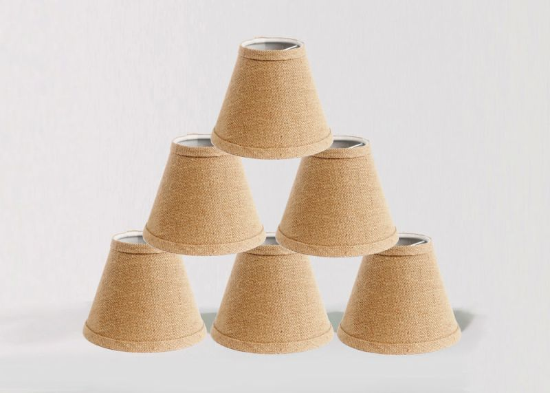 Picture of: Burlap Chandelier Lamp Shades