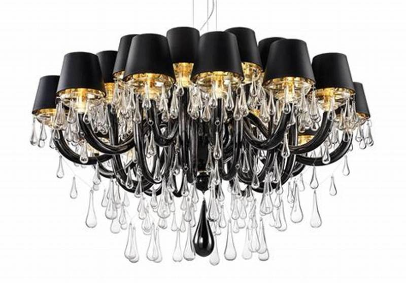 Image of: Chandelier With Black Shades