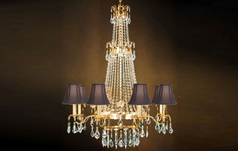 Image of: Chandelier With Shades And Crystals