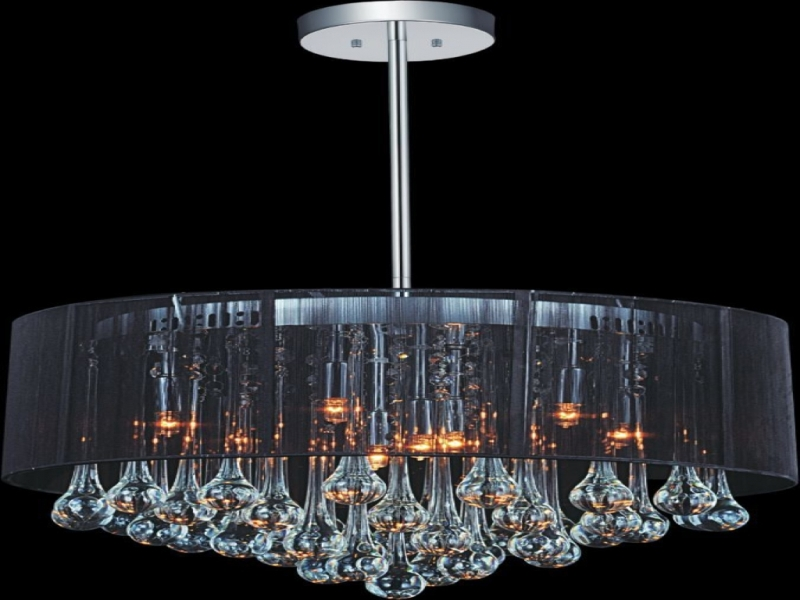 Drum Shade Chandelier With Crystals