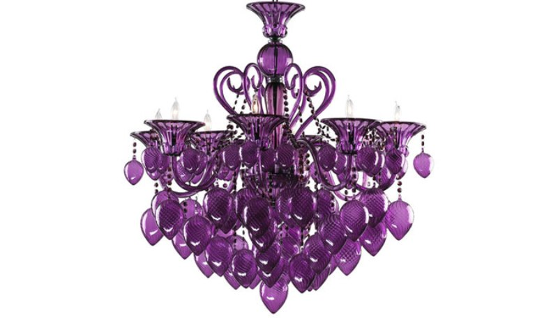 Image of: Purple Lamp Shade With Crystals