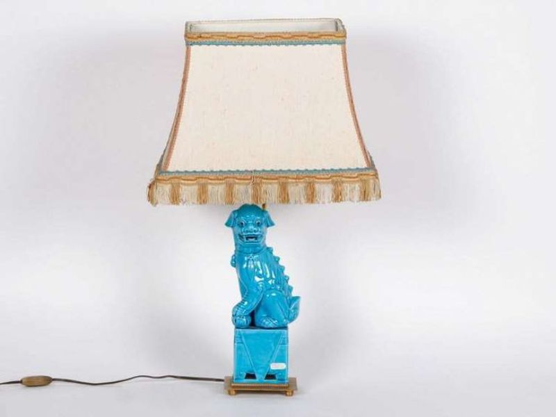 Image of: Turquoise Lamp With White Shade