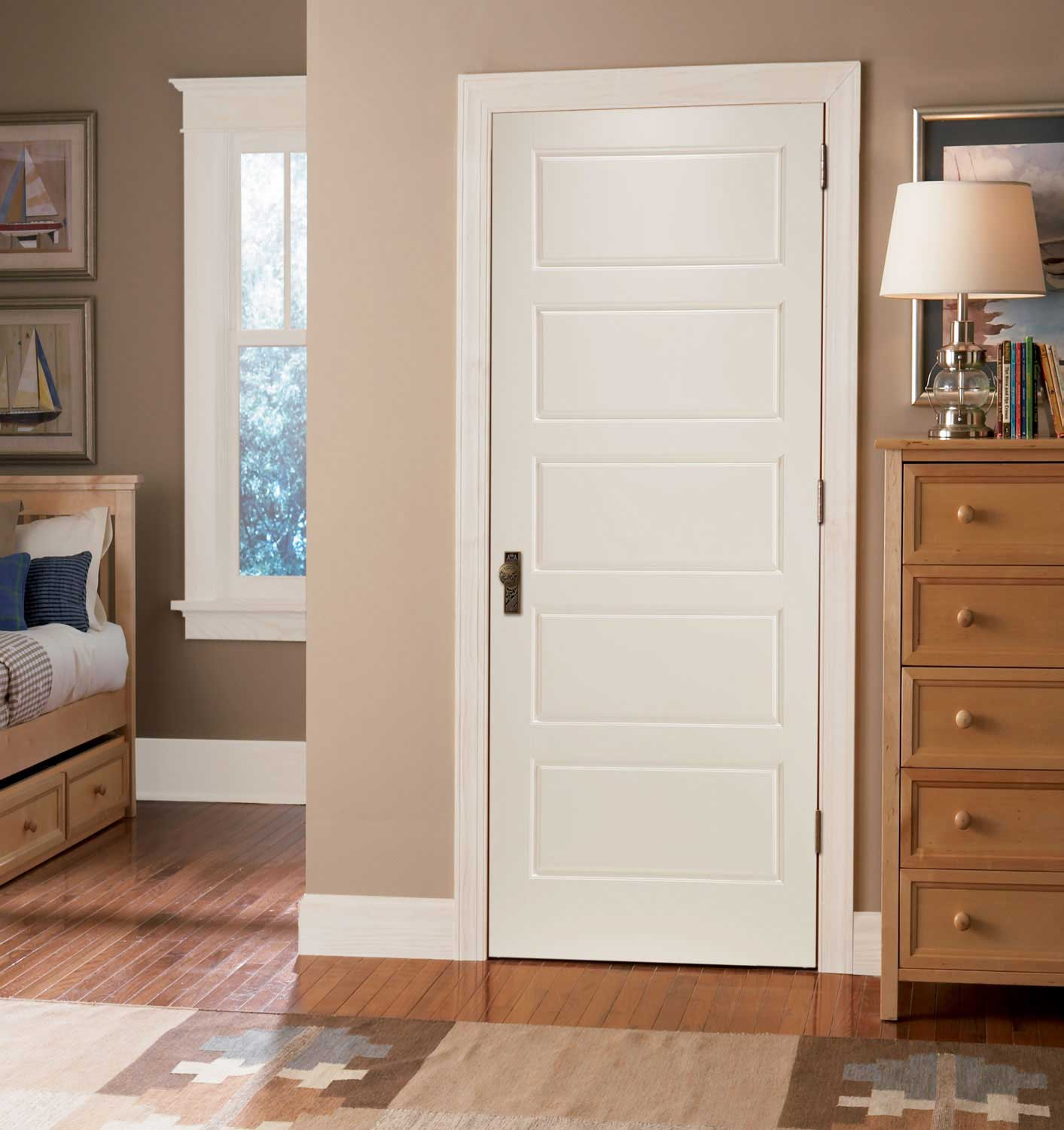 Image of: 5 Panel Interior Door White Style