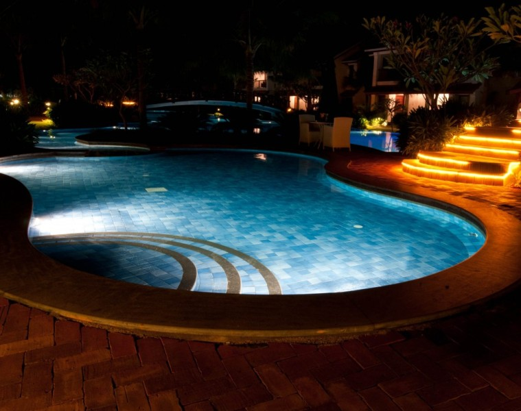Image of: Above The Ground Pool Lights