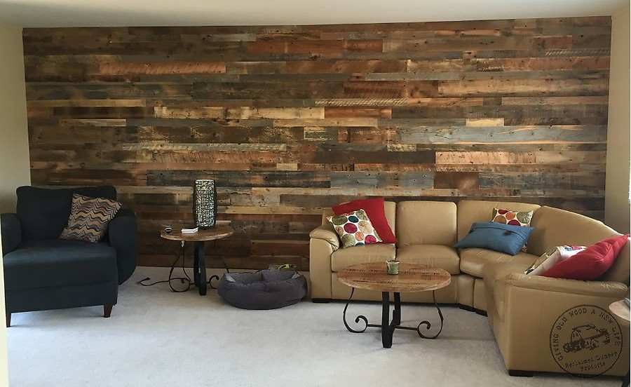 Image of: Barn Wood Paneling Living