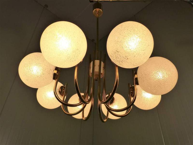 Picture of: Brass Chandelier With Glass Shades