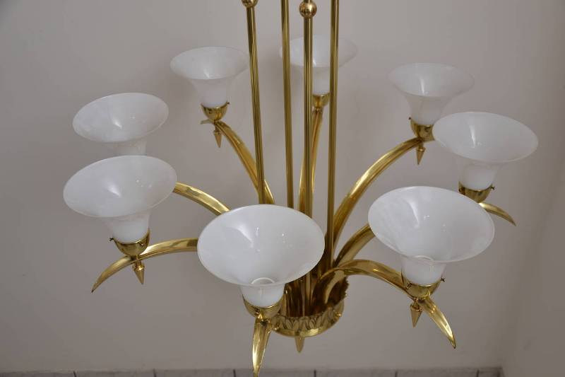 Chandelier White Glass Shades