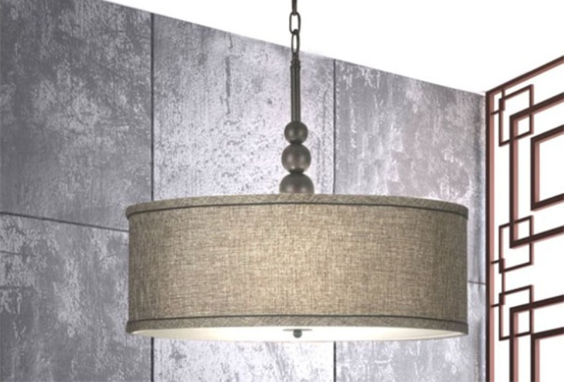 Drum Shade Pendant Light With Chain