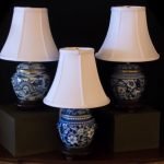 Light Blue Ceramic Lamp White Shade