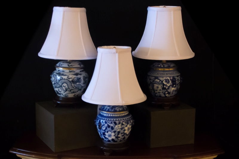 Picture of: Light Blue Ceramic Lamp White Shade