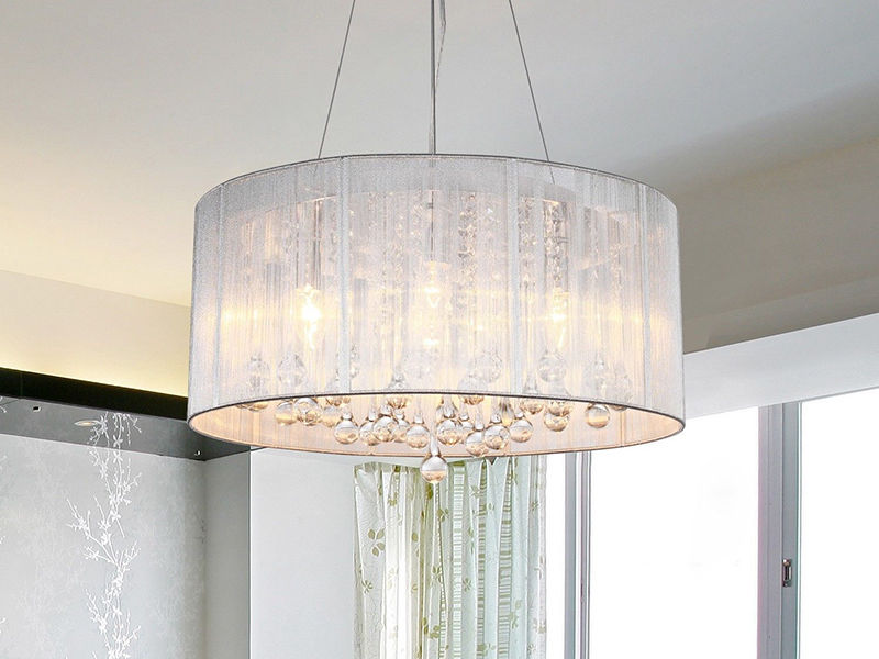 Image of: Pendant Lighting With Fabric Shades