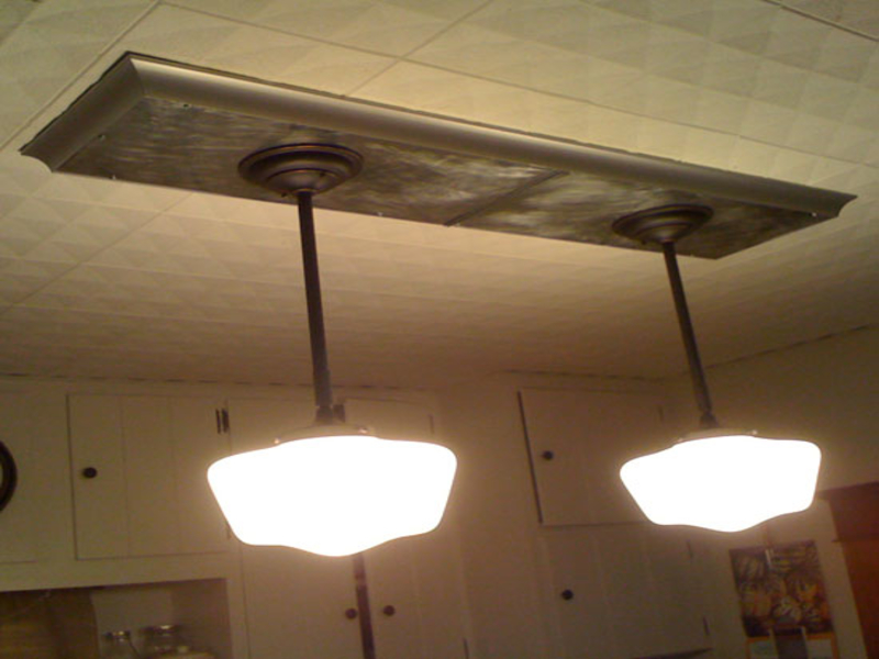 Image of: Replace Fluorescent Light Fixture In Kitchen