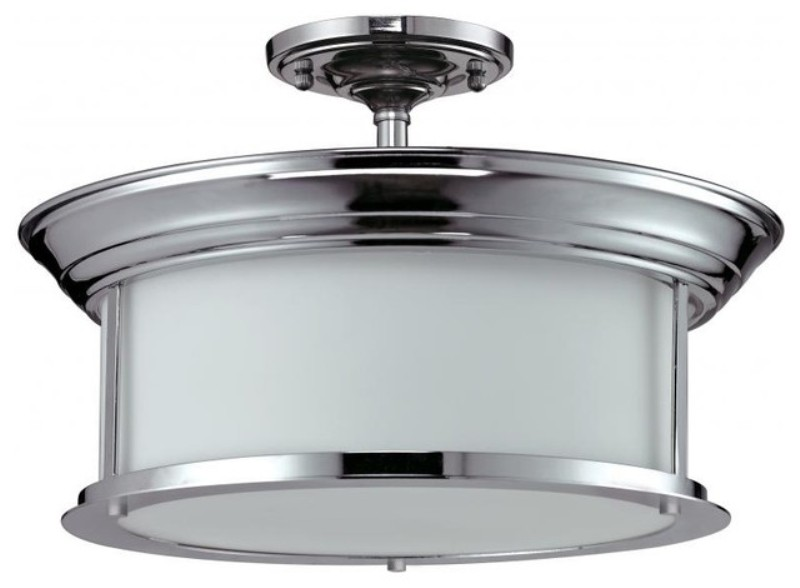 Image of: Semi Flush Ceiling Light With Drum Shade