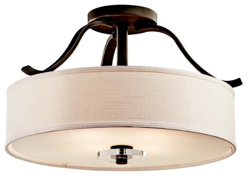 Image of: Semi Flush Mount Ceiling Light With Drum Shade