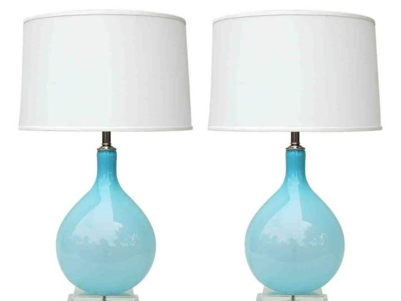 Silver Lamp With Light Blue Lamp Shade