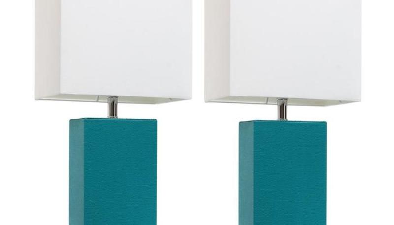 Teal And White Lamp Shade