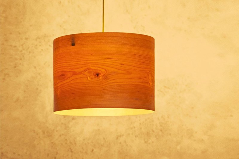 Wood Drum Shade Pendant Light