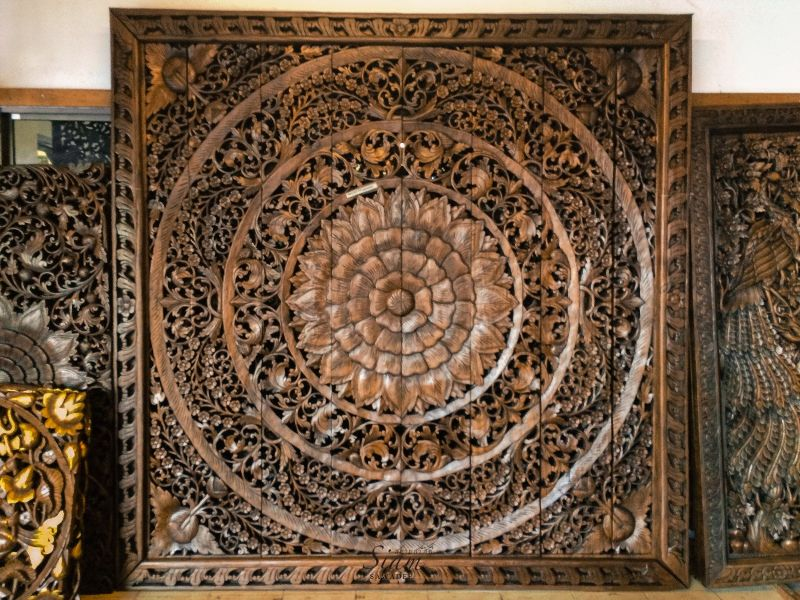 48×48 Carved Wood Wall Art Panel