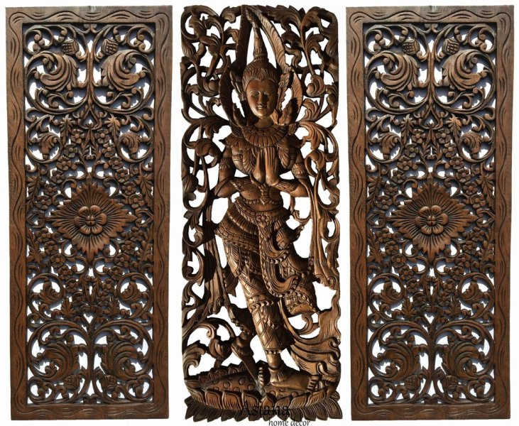 Carved Wood Wall Decor Panel