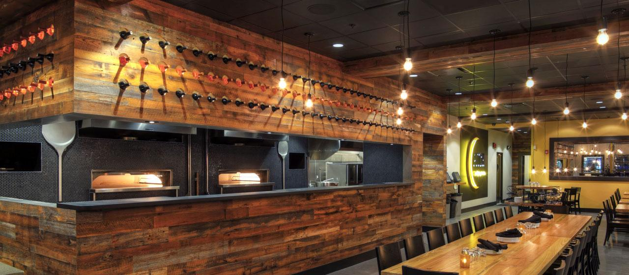 Image of: Distressed Wood Paneling Bar