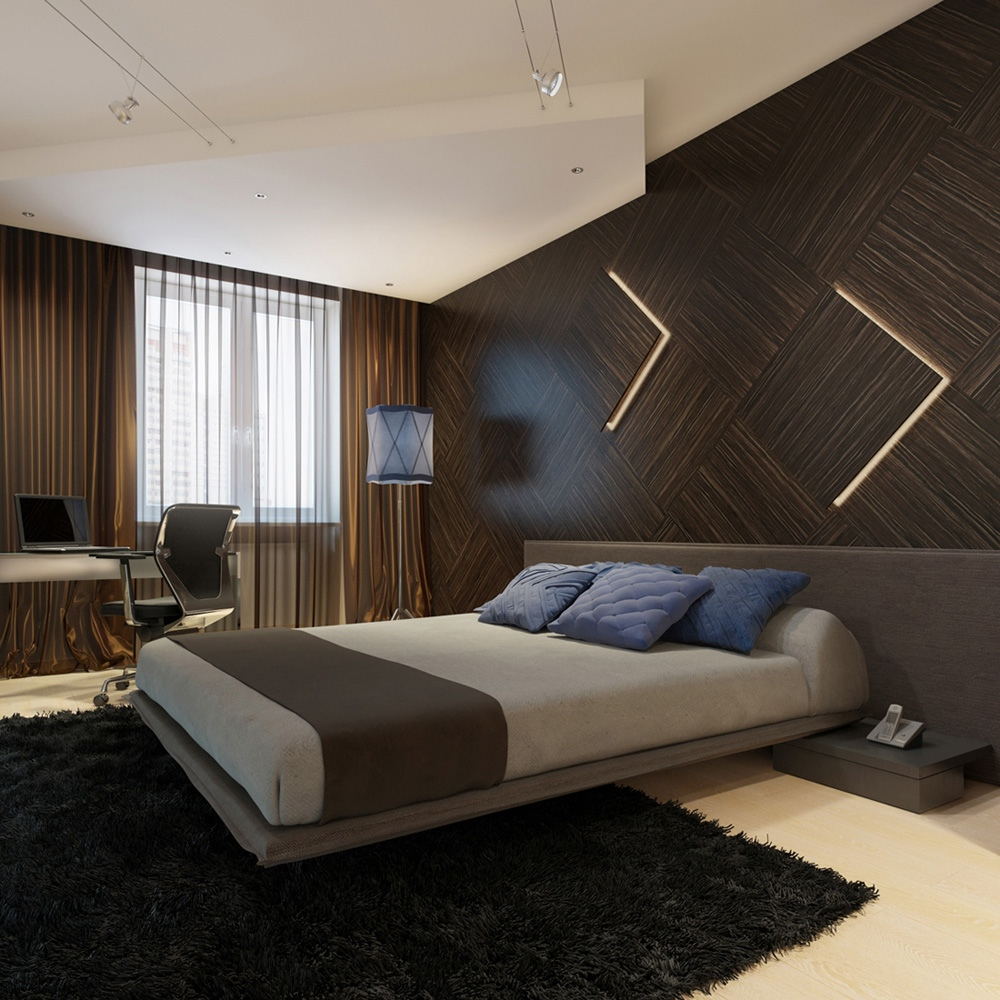 Image of: Interior Wood Panel Bedroom