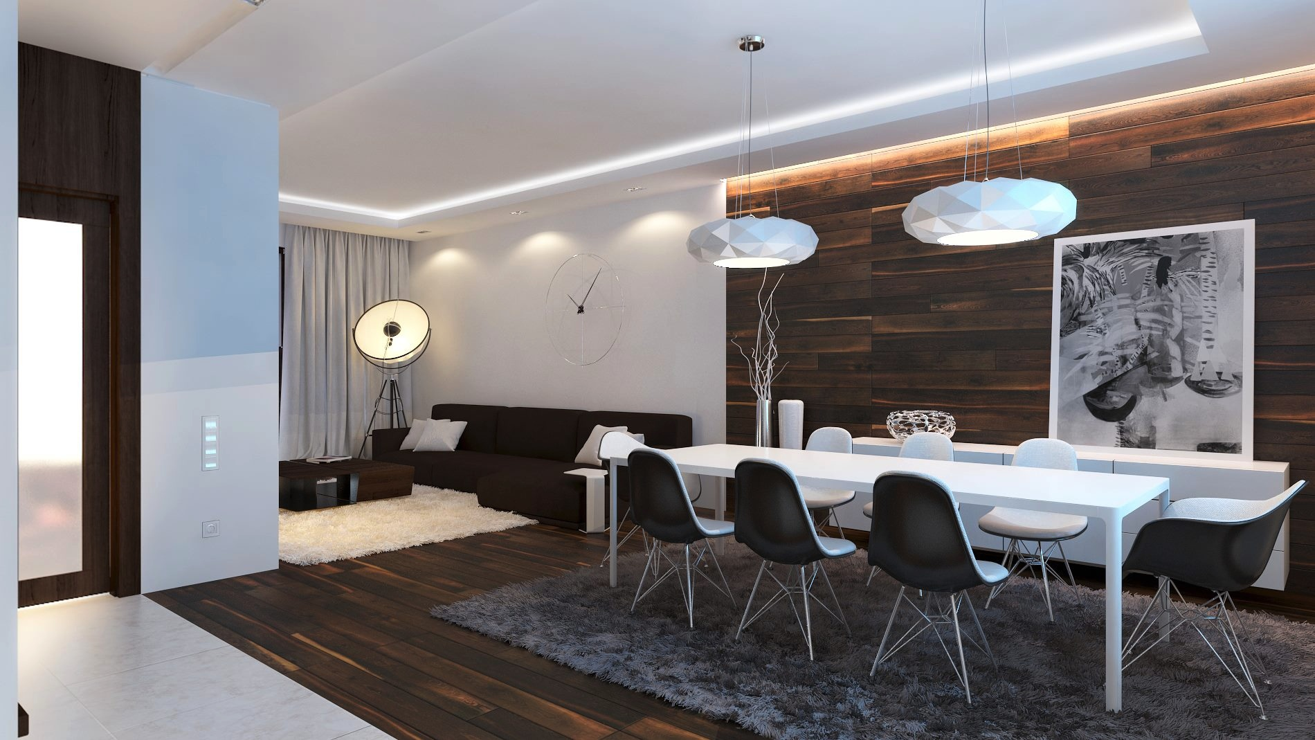 Image of: Modern White Wood Paneling