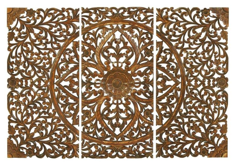 Moroccan Inspired Wood Carved Wall Panel
