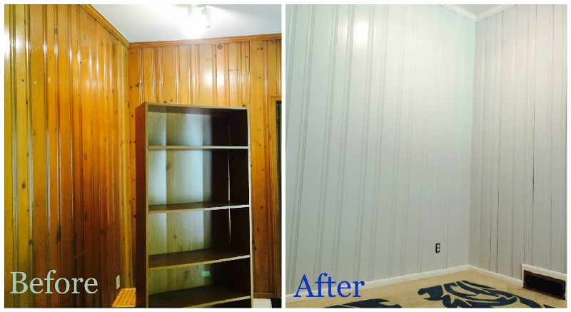 Image of: Painting Dark Wood Paneling Before And After