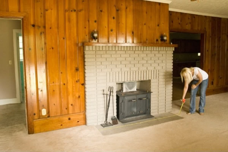 Painting Wood Paneling Around Fireplace