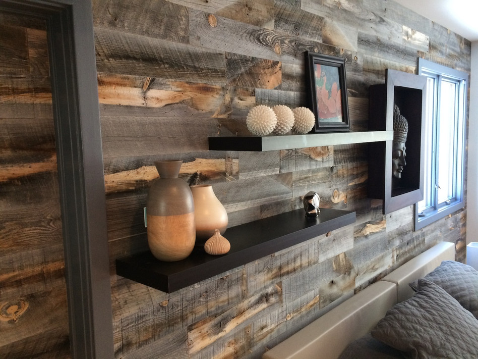 Image of: Rustic Stikwood Adhesive Wood Paneling