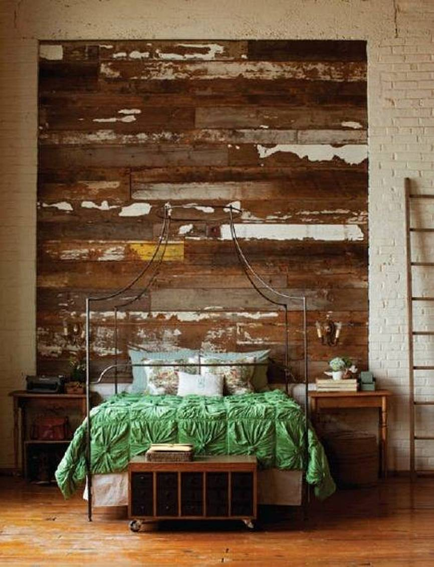 Image of: Rustic Wood Panel Headboard