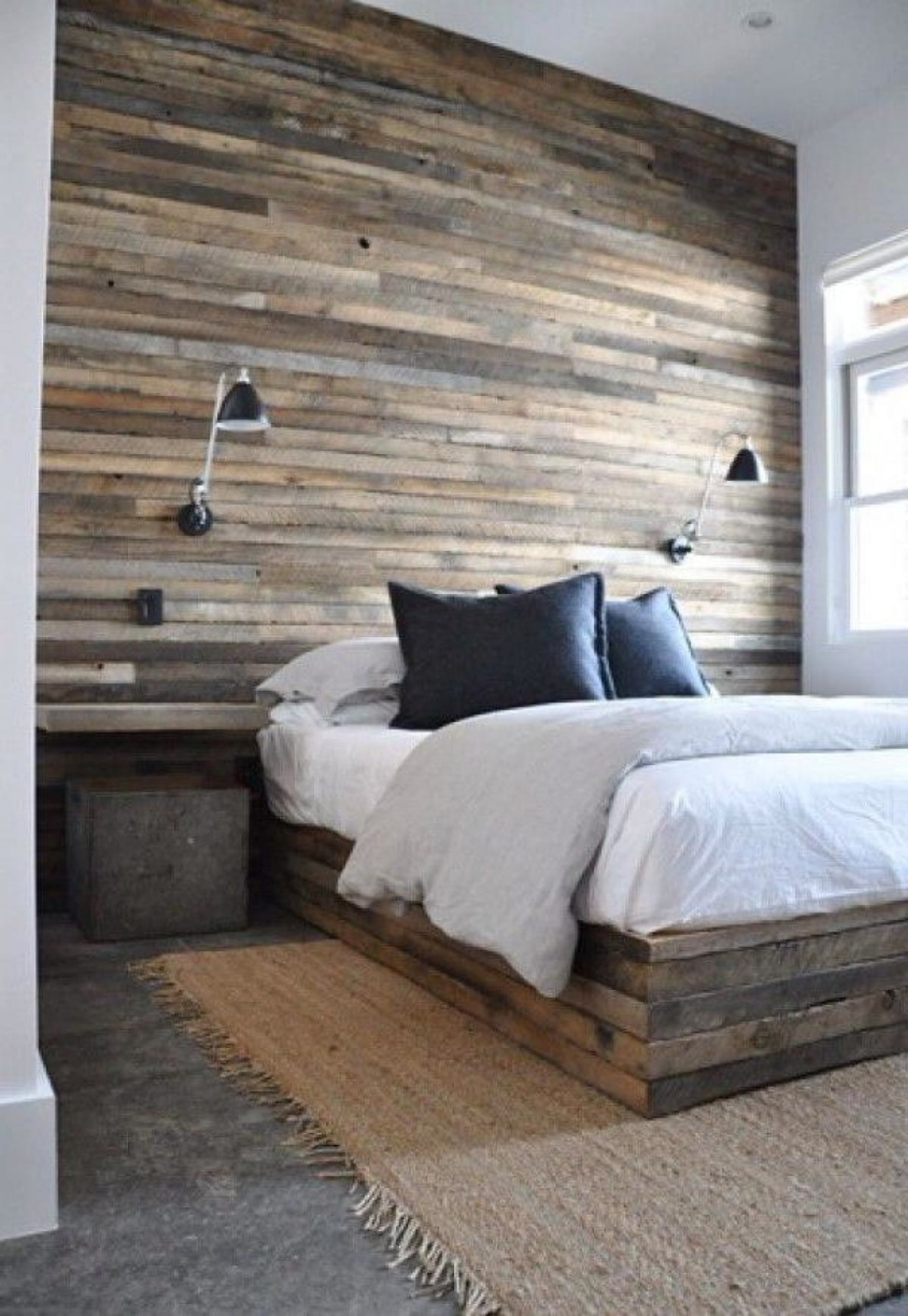 Simple Wood Panel Bedroom