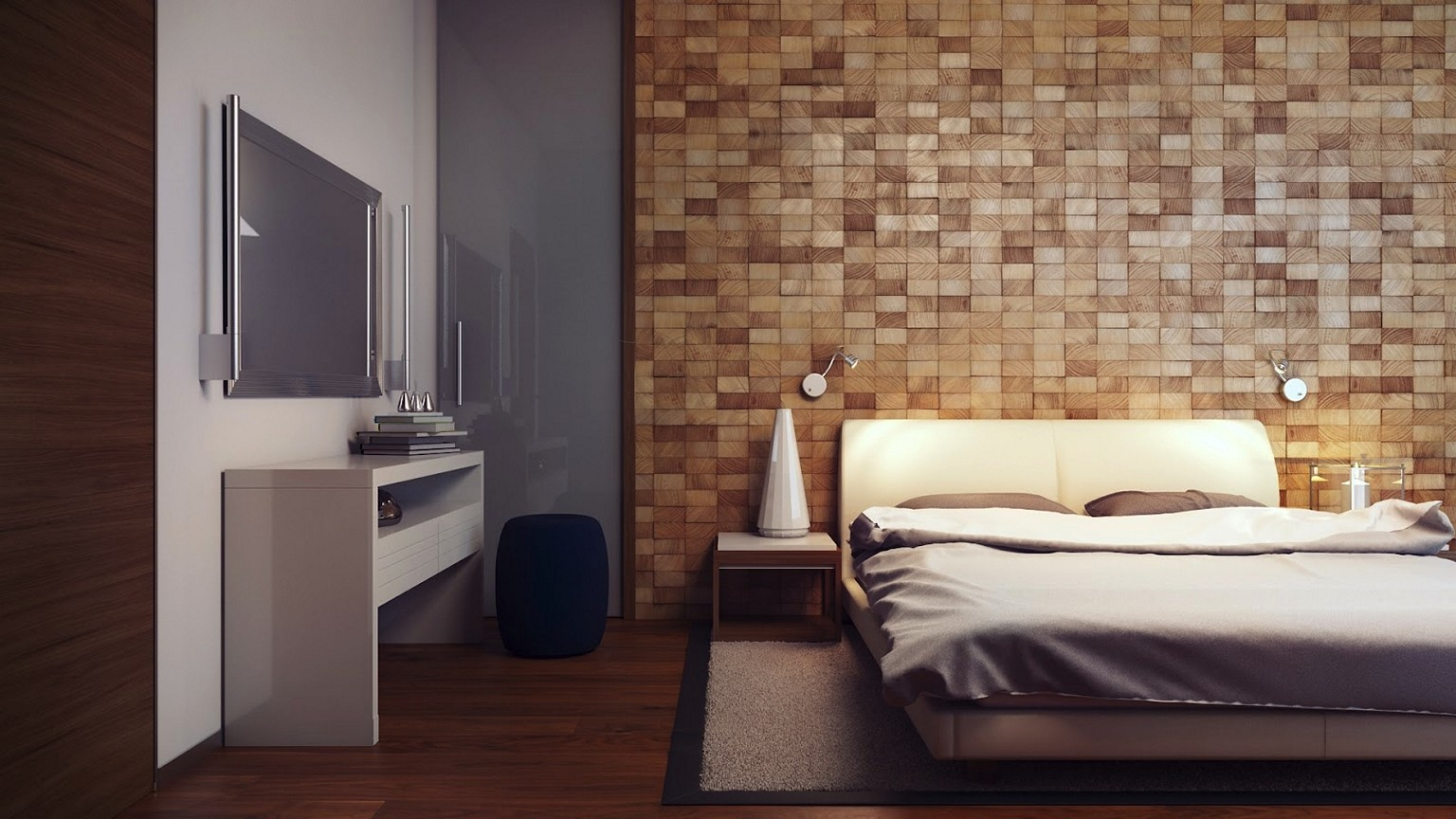 Wood Paneled Walls Bedroom Modern