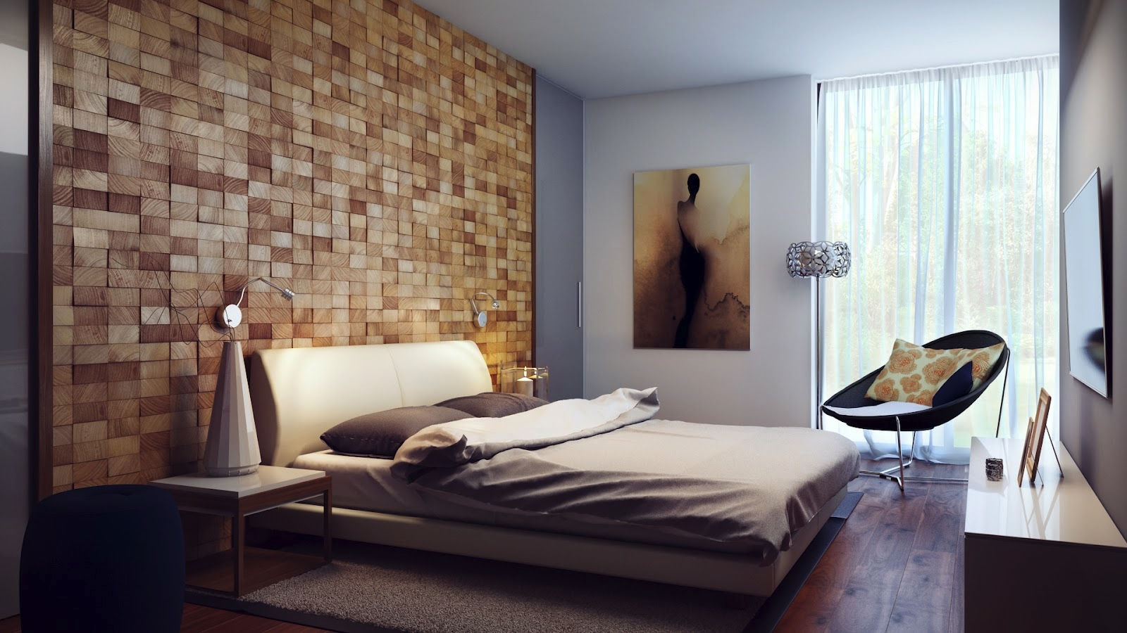 Image of: Wood Paneling Walls for Bedding