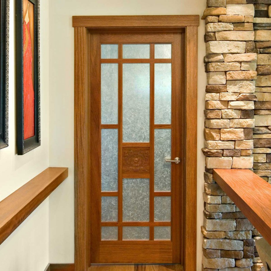 Image of: Wood and Glass Panel Door