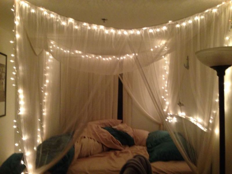 Picture of: Bed Canopy Ideas With Lights