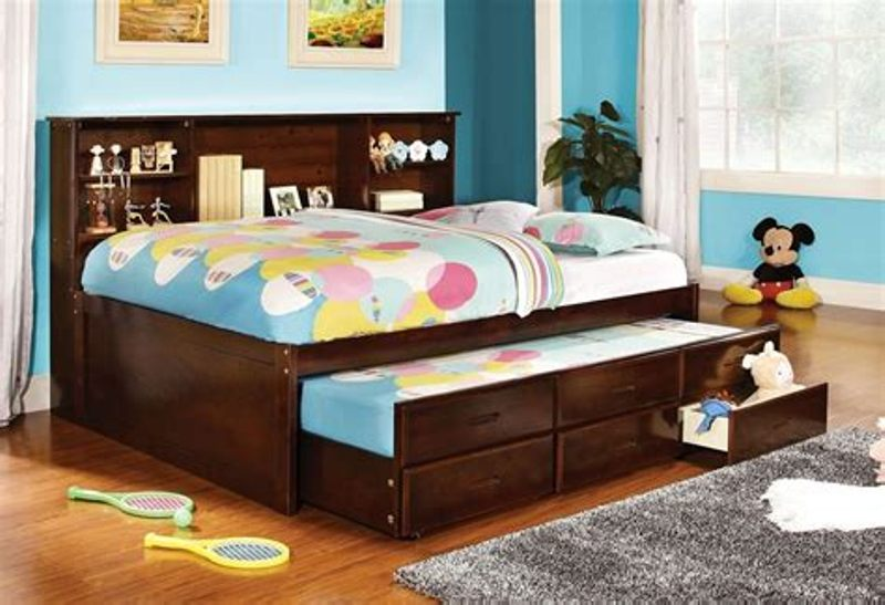 Full Size Captains Bed With Trundle And Storage Drawers