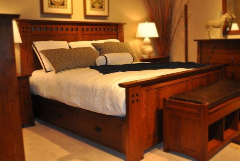 Picture of: Mission Oak King Beds With Storage Drawers Underneath