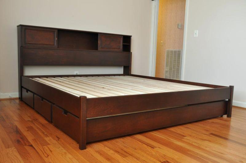 Platform Bed Frame With Drawers Queen Oak
