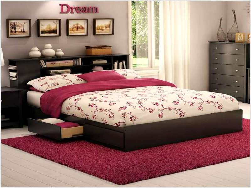 Platform Bed Frame With Drawers Queen Size