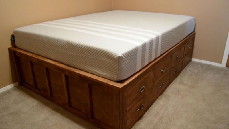 Platform Bed Frame With Drawers Queen