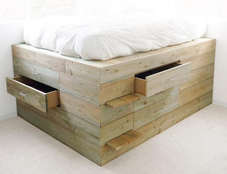 Platform Queen Size Bed Frame With Drawers