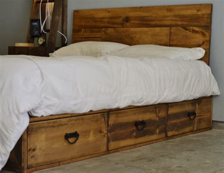 Queen Platform Bed Frame With 4 Storage Drawers