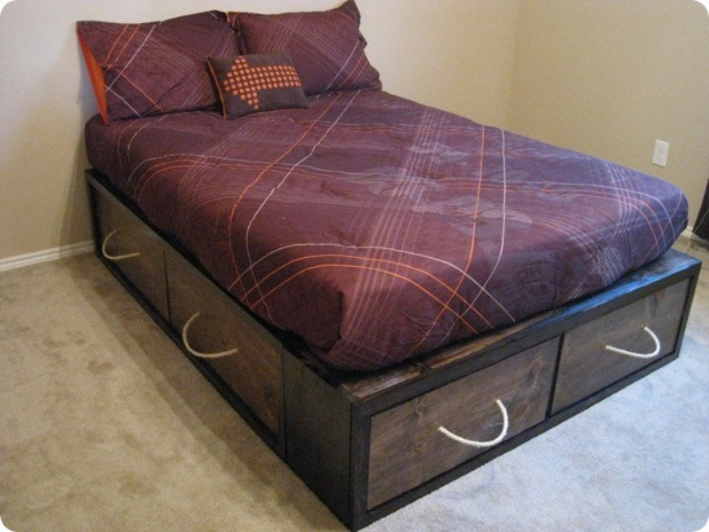 Modern Full Size Bed Frame With Storage Drawers