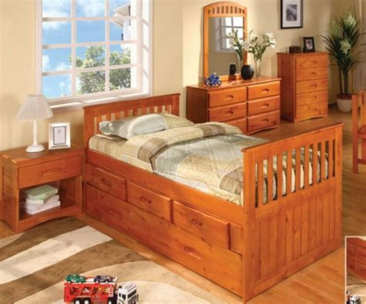Picture of: Modern Twin Bed With Trundle And Drawers