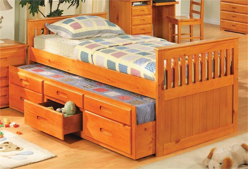 Picture of: Twin Trundle Bed With Storage Drawers