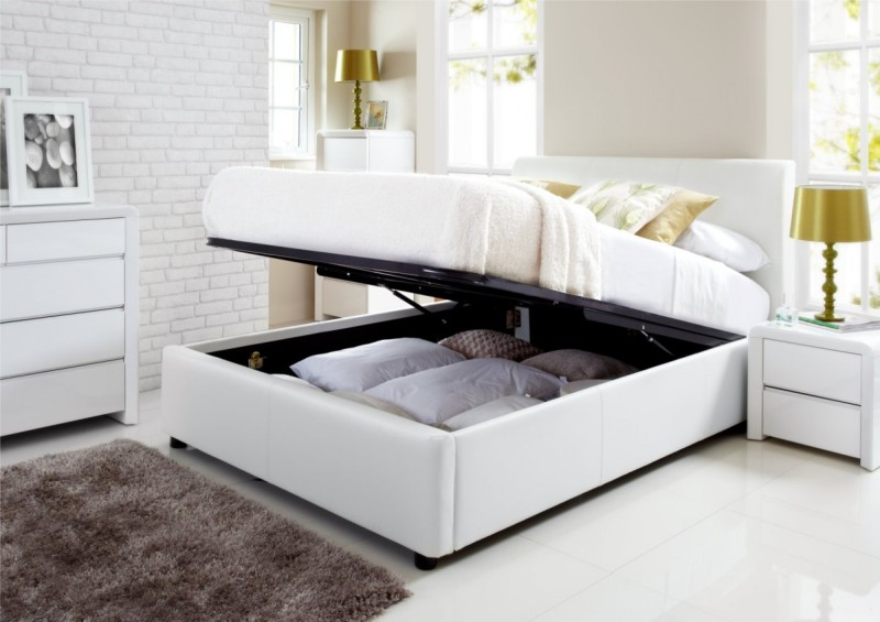 White King Size Bed Frame With Storage