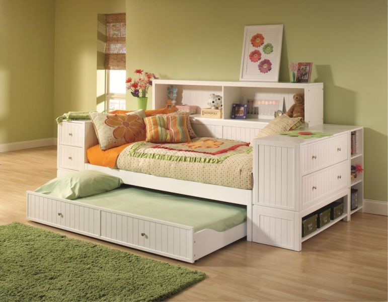 Wooden Trundle Bed With Drawers