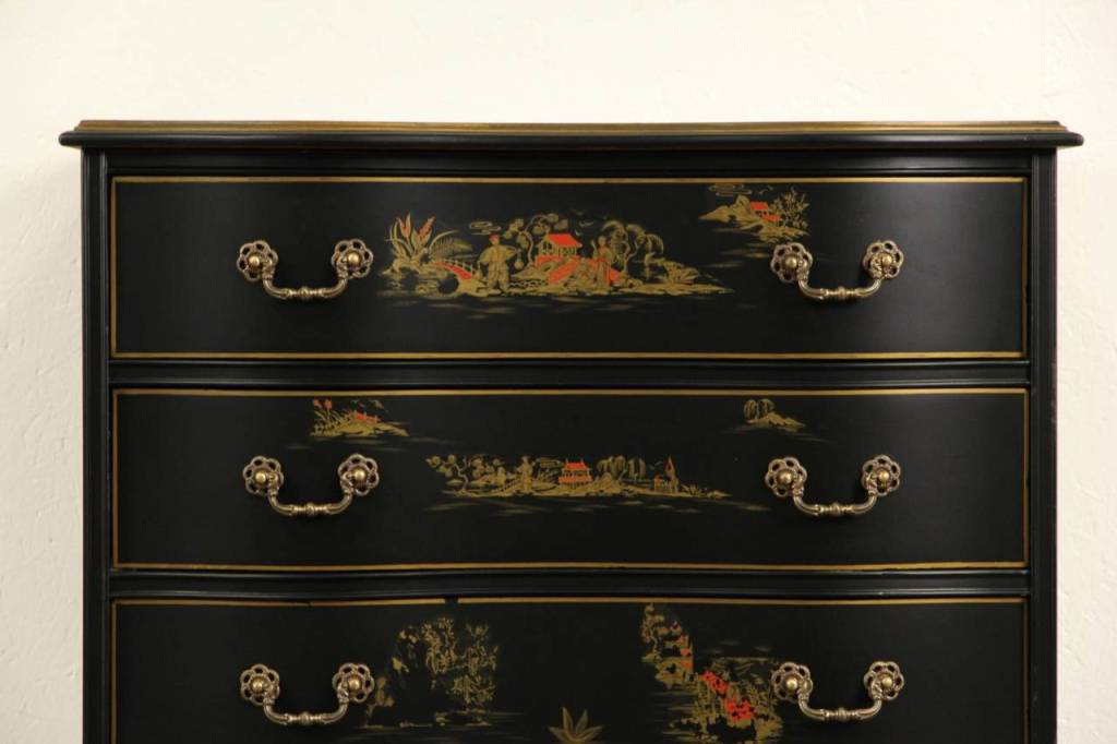 Picture of: Black Lacquer Dresser Nightstand